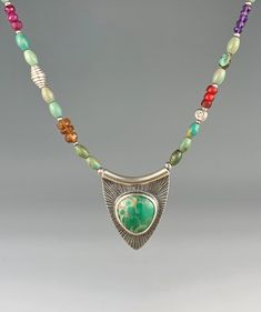 Australian Variscite Necklace with Gemstone and Turquoise beaded chain Turquoise Beads, Turquoise Necklace, Artisan Jewelry, Handmade Jewelry, Bento, Metal Jewelry, Precious Metals, Gemstones, Chain