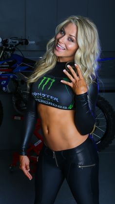 Dianna Dahlgren via TWMX // wearing custom Monster Energy X Crispy Bikinis top hand accented by the Ladies of Crispy Bikinis {Sue and Cristina Swink}