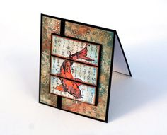 handmade notecard ... Asian theme ... Lucky Koi Fish ... s=plit panel ...  orange blue copper by ThePurpleTable ...