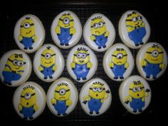 Items similar to MInion Cookies (Despicable Me) on Etsy Mini Cookie Cutters, Cookie Jars, Minion Cookies, Star Wars Cookies, Minions Despicable Me, Cookies For Kids, Cookie Recipes, Cookie Ideas, Royal Icing