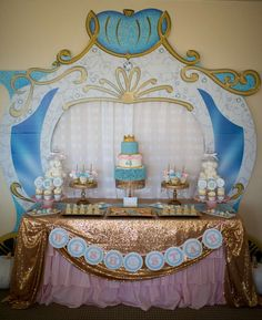 Gold and blue Cinderella birthday party! See more party ideas at CatchMyParty.com!