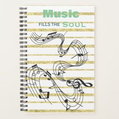 Music Notes Calendar Planner - elegant gifts gift ideas custom presents