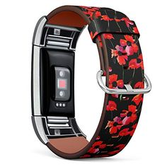 Compatible with Fitbit Charge 2, Replacement Leather Band Bracelet Wristband Strap + Adapters [ Poppy Flowers Waterco...