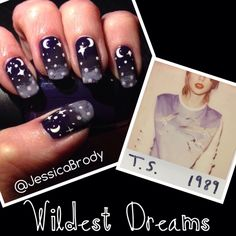 "Nail art inspired by track 9 of Taylor Swift's 1989. ""Wildest Dreams"""
