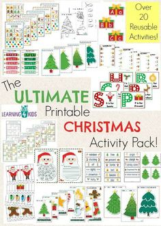 The Ultimate Christmas Printable Activity Pack - 100 pages, over 20 reusable activities, colour by number sheets, games, templates and so much more by Learning 4 Kids
