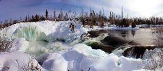 Nistowiak Falls in winter. Near Stanley Mission.