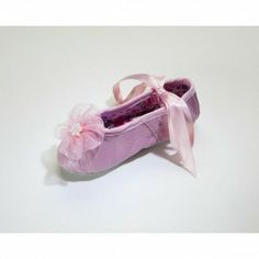 Organza Rhinestone Flower Ballet Slippers in  Pink include beautiful satin ribbon ties that wrap around your little one's ankles, elastic an...