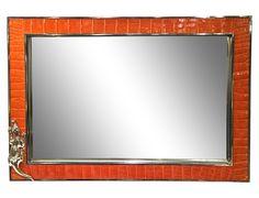 Orange Leather Embossed  Alligator Tray W/Mirror on Chairish.com