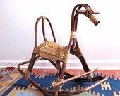 Mid Century Rattan Rocking Horse - Vintage Childs Rocking Horse