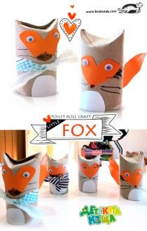 paper roll art and crafts - fox