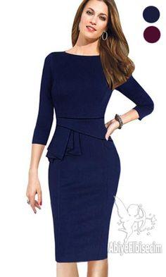 bayan elbise diz hizası ofis iş tarzı kalem elbise ,bayan elbise,elbise,ucuz elbise,online elbise,abiye elbise