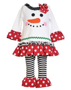 c66e03c98b53b Bonnie Baby Baby-Girls Snowman Appliqued Knit Legging Set, Snowman  appliqued playwear set with dot trims and striped leggings.