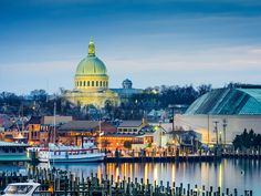 ANNAPOLIS, MD History buffs, take note: Maryland's capital city is home to the U.S. Naval Academy (and its bright copper-domed chapel, pictured) and more than 50 well-preserved buildings that predate the Revolutionary War. Stop in for crab cakes at the Middleton Tavern, which dates to 1750 and counts George Washington, Benjamin Franklin, and Thomas Jefferson as former famous patrons, among others.