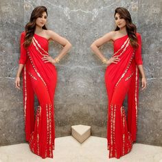 Shilpa S Kundra in Indo- western style sari Indian Gowns Dresses, Indian Fashion Dresses, Dance Dresses, Evening Dresses, Stylish Dresses For Girls, Stylish Dress Designs, Tribal Fusion, Collection Eid, Saree Blouse Neck Designs