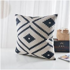 Items similar to Natural/ Black Aztec Pillow cover, geometric printed cotton linen cushion cover/throw pillow cushion shell on Etsy
