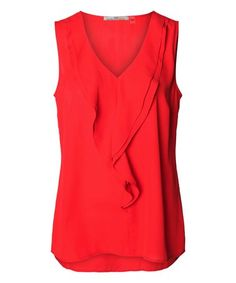 Crimson Red Ruffle V-Neck Top #zulily #zulilyfinds