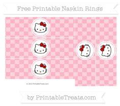 Free Pastel Light Pink Checker Pattern Hello Kitty Napkin Rings