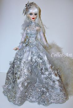 "OOAK Fashion Outfit Gown Clothes Tonner Wilde Imagination Evangeline Parnilla Ghastly BJD ""Silver Roses"" by Collet-Art Barbie, Ooak Dolls, Art Dolls, Fashion Dolls, Fashion Outfits, Halloween Miniatures, Glamour Dolls, Doll Repaint, Collector Dolls"