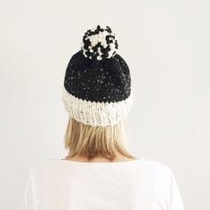 Knit Hat with Pom Pom, Fall Winter hat, Natural Neutral hat, Rustic Warm Hand Knit Hat, Bobble hat, Made to order by VeraJayne