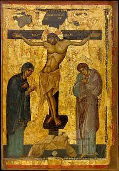 The Crucifixion. A masterpiece of byzantine art. Byzantine Icons, Byzantine Art, Religious Icons, Religious Art, Medieval Art, Renaissance Art, Life Of Christ, Jesus Christ, Russian Icons