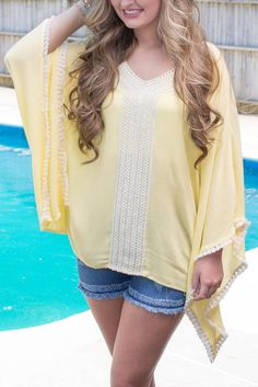 Cute Yellow Poncho- Cute Swimsuit Coverup- Pretty Yellow Top