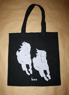 "100% Cotton Tote Bag - Screen-Printed Wild Horses  - ""Love"". Click on the picture to learn more about this design."