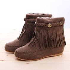 BN Boho Flat Fringed Faux Suede Ankle Boots Booties Oxfords Moccasin Beige Brown | eBay