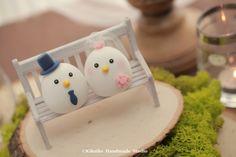 Birds wedding cake topper,love birds MochiEgg wedding cake topper
