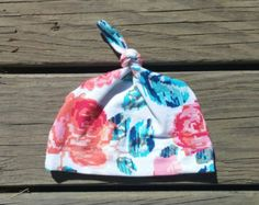 Digital Rose Pale Girl Cute Floral Baby Toddler Cotton Stretchy Hat with Top Knot