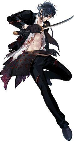 "Note: His name literally translates to ""candlestick-slasher Mitsutada."" Note: Heshikiri Hasebe's original owner was Oda Nobunaga. Shokudaikiri Mitsutada was once owned by Oda Nobunaga before being handed off to Date Masamune. Anime W, Chica Anime Manga, Hot Anime Boy, Manga Boy, Anime Demon, Anime Guys Shirtless, Handsome Anime Guys, Touken Ranbu Characters, Anime Characters"