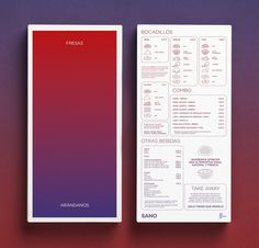 A bit minimal and futuristic, but I love how the the ombre is used on the cover of the menu as well as the menu items