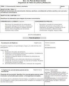 La Profesionalización Docente: Taller de Lectura y Redacción: Plan de Clase…