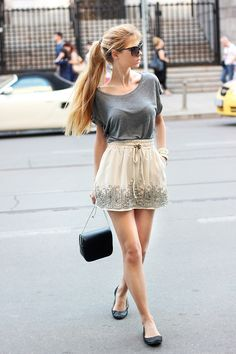 Embellished skirt and gray t shirt