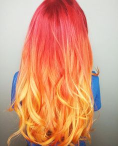 Play with fire. Flame Hair, Bright Hair Colors, Hair Colours, Peekaboo Hair, Rose Orange, Cool Hair Color, Hair Pieces, Dyed Hair, Hair Inspiration