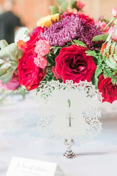 White, Laser Cut Wedding Table Numbers // A Colorful Modern Elegant Charlotte Wedding via TheELD.com Simple Weddings, Colorful Weddings, Pink Weddings, On Your Wedding Day, Perfect Wedding, Red And White Weddings, Allure Bridal, Wedding Table Numbers, Wedding Designs