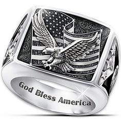Ring: Wings Of Freedom Stainless Steel Patriotic Eagle Ring Eagle Ring, Freedom Rings, Mens Stainless Steel Rings, Biker Rings, Black Sapphire, Gifts For Him, Jewelry Design, Men's Jewelry, Fine Jewelry