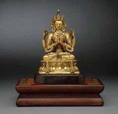 A Gilt-Bronze Figure of Avalokiteshvara Sadaksari - antique chinese Four Arms, Buddhism, Bronze, Statue, Antiques, Antiquities, Antique, Old Stuff, Sculptures