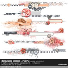Readymade Borders: Love No. 06 embellishment clusters in pink gray and coral for scrapbooking #designerdigitals