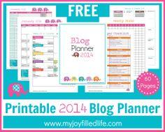 Free Printable 2014 Blog Planner