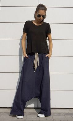 NEW Fall Winter Collection Cotton Navy Harem Pants / Extravagant Drop Crotch Pants / Side Pockets Trousers /French Terry by AAKASHA A05527