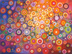 Rainbow circles by Natasha Tayles | acrylic painting | Ugallery Online Art Gallery