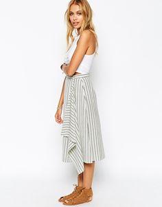 Enlarge ASOS Midi Skirt in Stripe with Waterfall Drape