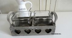 Heart 2 Tea Light candle Holder tealight Wood tray Shabby Chic  #Unbranded…