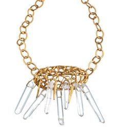 """triangles with rock crystals  Vermeil with rock crystal   SIZE: 4"""" x 2.5"""" across  CLASP: large covered hook  LENGTH: 16"""" - 18""""  Please allow 2-4 weeks for delivery."""