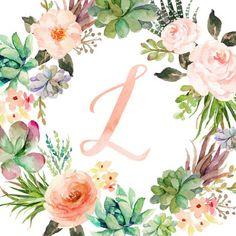 Monogram Nursery Art Nursery Wall Art Baby Gift Girl Floral Wreath Letter Name Art Nursery Decor Ini