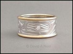 Frog Ring - silver, gold and diamond.   Kwakiutl gold band, haida gold ring, Native American wedding band, native indian ring, native indian gold ring, First nations wedding bands www.davidneel.com