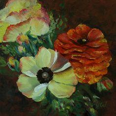 """Orange Ruffles by Julia Watson Oil ~ 6 x 6"""""""