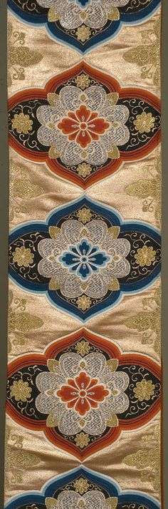 """Japanese Fukuro Obi 12""""x 162"""" Decorated section: 12""""x 94"""" Silk satin with gold, silver and silk brocading. This lovely obi, with Persianate cartouches,"""
