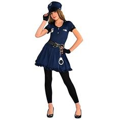 Amscan Cutie Cops and Robbers Party Policewoman Costume 7 Piece Navy BlueBlack Medium 810 *** See this great product.