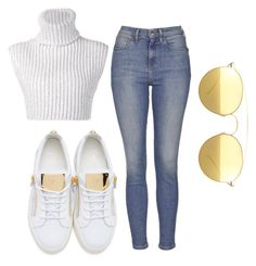"""Untitled #29"" by laurenmq ❤ liked on Polyvore featuring Giuseppe Zanotti, Topshop, Baja East, Mykita and gold"